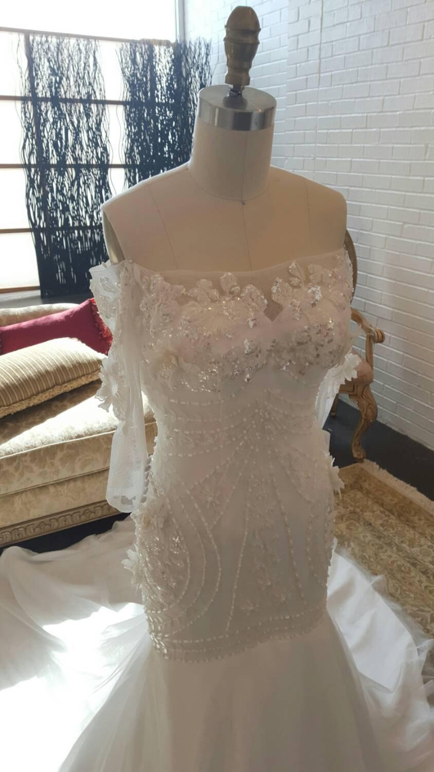 Mariage - Off the Shoulder Wedding Dress, Beaded Wedding Dress, Mermaid Trumpet Wedding Dress, Tulle, Sleeves, Wedding Dress with Sleeves, Unique