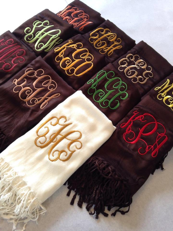 Mariage - Brown and Blue Monogrammed Scarves - Bridesmaids - Chocolate Turquoise Wedding - Mom Gifts - Fall Accessories