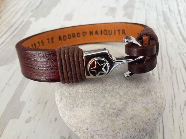 Wedding - Men's Personalized Bracelet,Men's Leather Bracelet, Anniversary Graduation Gift for Him,Valentines Gift , Sailor Bracelet,Handmade Bracelet