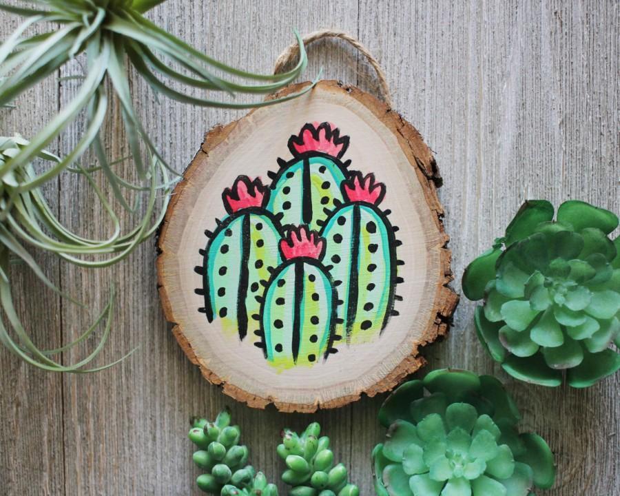 handpainted cactus artwork on mini wood slice 2664718 weddbook