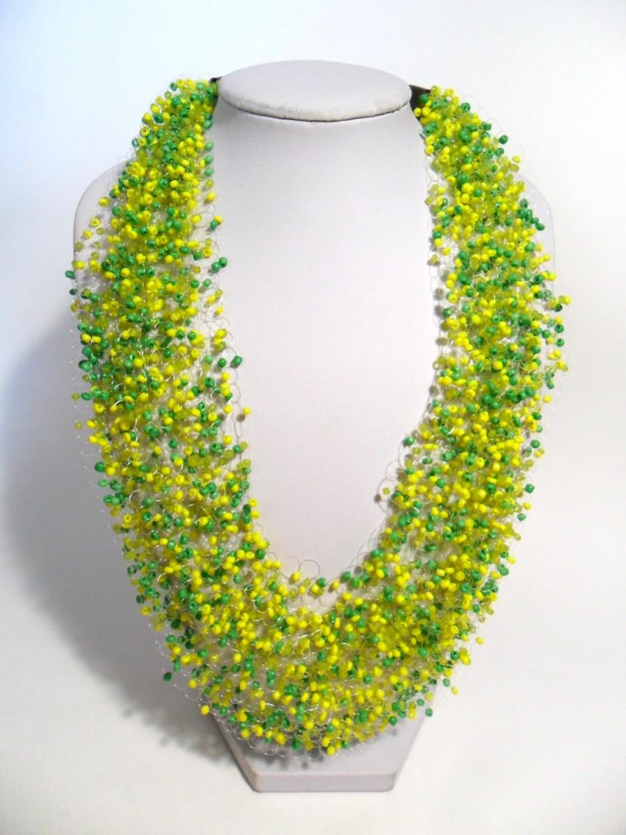 Wedding - Spring or summer necklace yellow green airy crochet multistrand statement bright gift for her cobweb everyday casual bridesmaid unusual bead