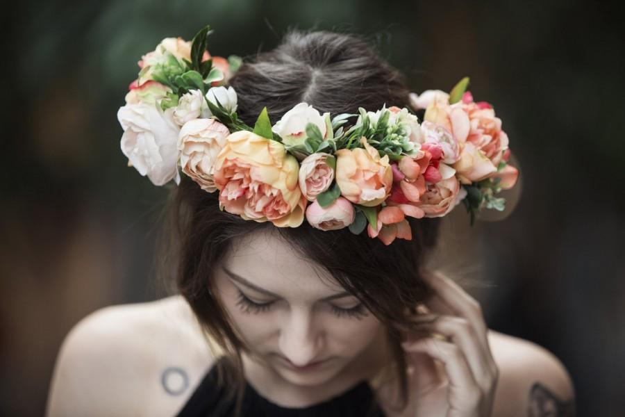 Wedding - Peach Silk Flower Hair Crown, with Peonies, Roses, Ranunculus, Cabbage Roses, Dried Hill Flowers, Cherry Blossoms and Greenery