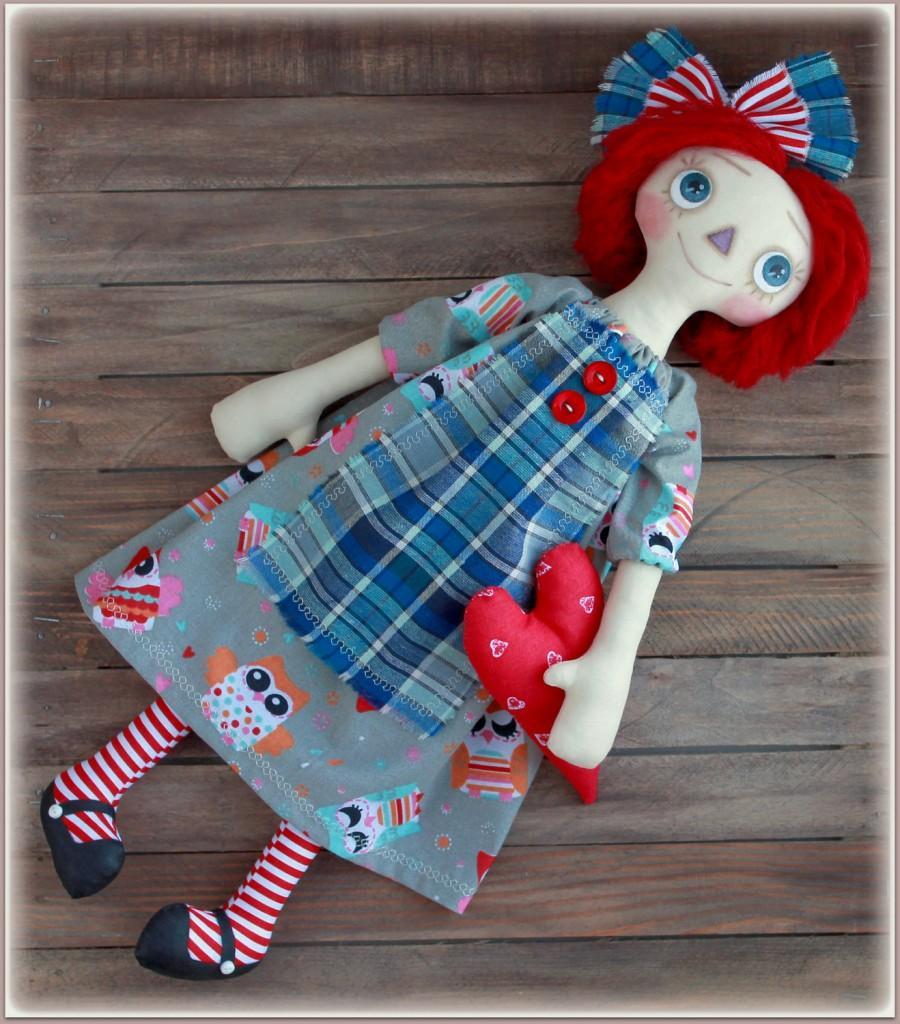 زفاف - Primitive Raggedy Doll  fabric soft doll rag doll cloth doll handmade doll
