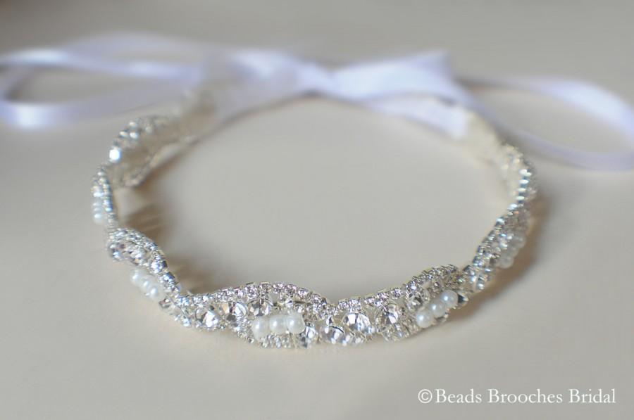 Mariage - Pearl and Rhinestone Headband, Silver Wedding Headband, Pearl Crystal Bridal Headband, Wedding Headpiece, Wreaths