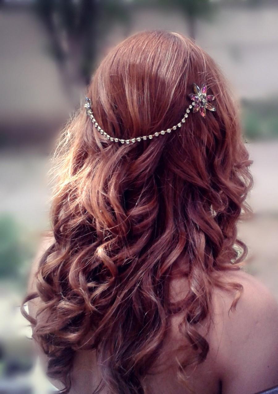 Mariage - Boho Bridal comb. Bohemian Chain, Headdress, Bridal gold hairpiece, Wedding boho comb, Bohemian headwrap, Crystal head piece, Boho chain