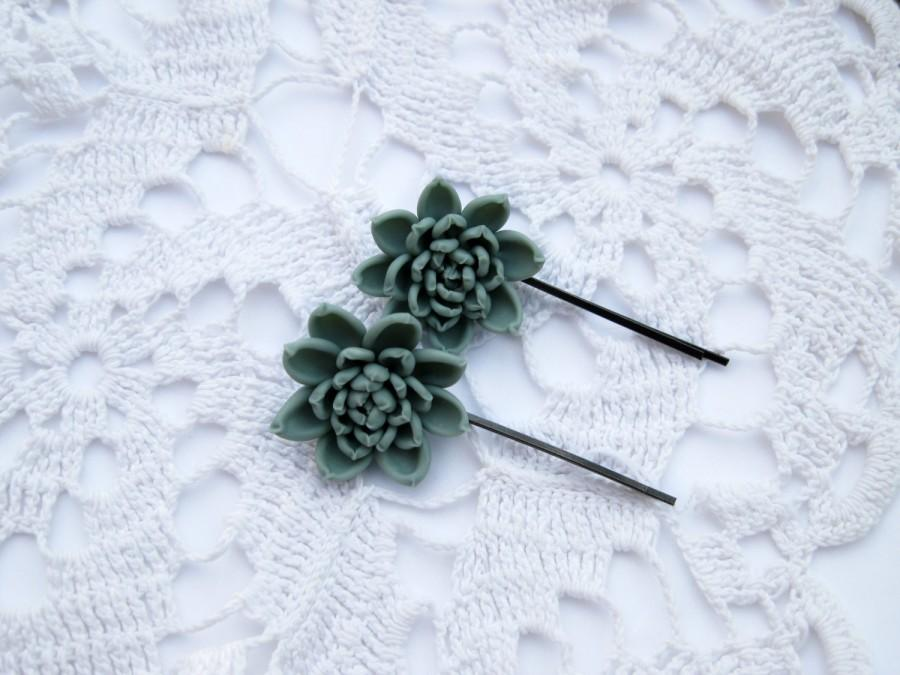 Mariage - Wedding hair accessory Bridal bobby pin Bridesmaid bobby pin Succulent wedding hair piece flower girl head piece Girl hair accessory Flower