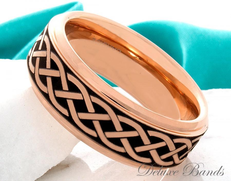 زفاف - Tungsten Wedding Band Celtic Knot Irish Promise Ring Tungsten Anniversary Ring Engagement Ring Rose Black Celtic Tungsten Ring Comfot Fit