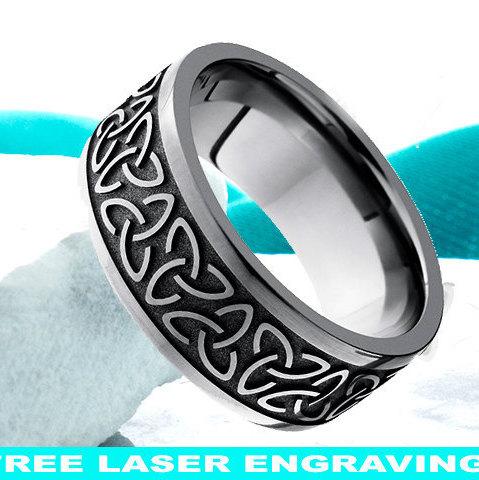 زفاف - Cobalt Wedding Ring Celtic Trinity Knot Men Women Wedding Band Cobalt Chrome Anniversary Ring Promise Ring Irish Celtic Ring 9mm Comfort Fit