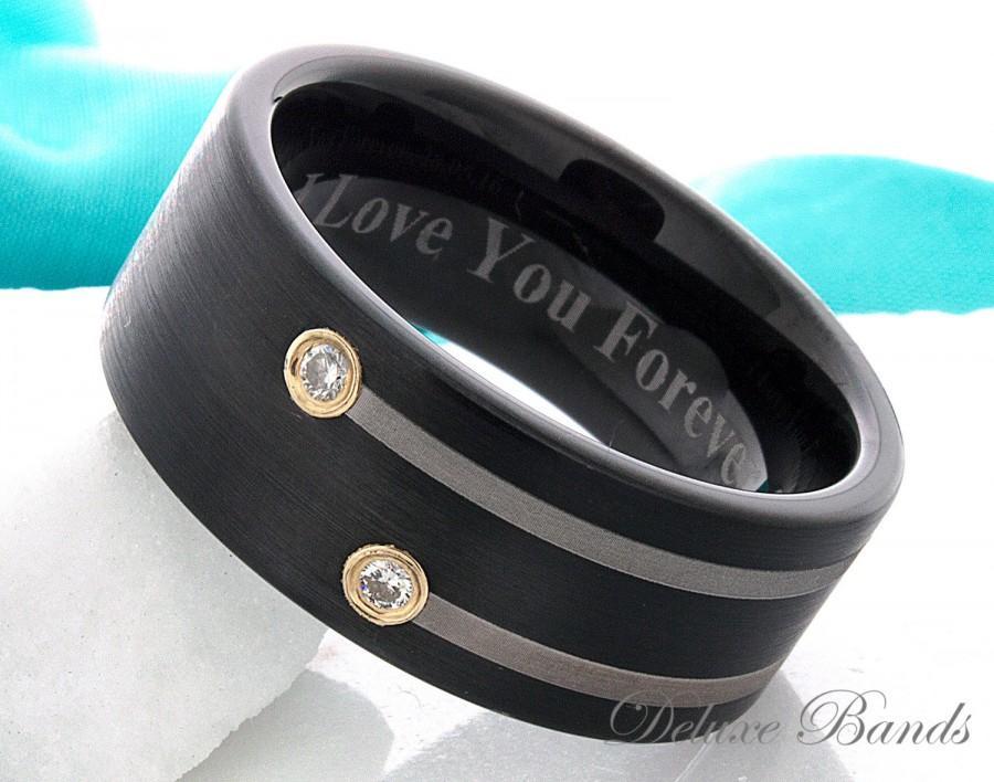 زفاف - Tungsten Ring Wedding Band Diamond Tungsten Ring Anniversary Promise Engagement Ring 9mm Pipe Cut Black Men Women Mathing Ring Set Elegant