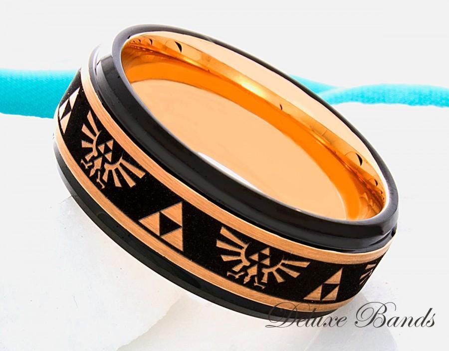 زفاف - Tungsten Wedding Ring 8mm Two Tone Triforce Tunsgten Anniversary Band Zelda Ring Rose Gold Black Mens Womens Promise Ring 8mm Comfort Fit