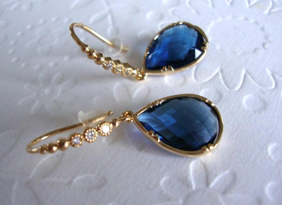 زفاف - Blue Dangle Earrings, Blue Sapphire Earrings, September Birthstone, Drop earings,Gold Dangle earrings, Gift for her, wife, mom, Superbowl