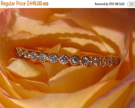 Wedding - Valentine Day Sale... Rose Gold Milgrain Bezel Diamond Wedding Band