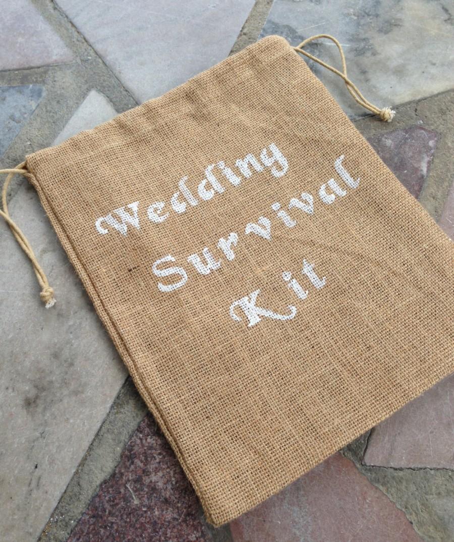 Hochzeit - Wedding Survival Kit - Burlap Bag - Wedding - Rustic