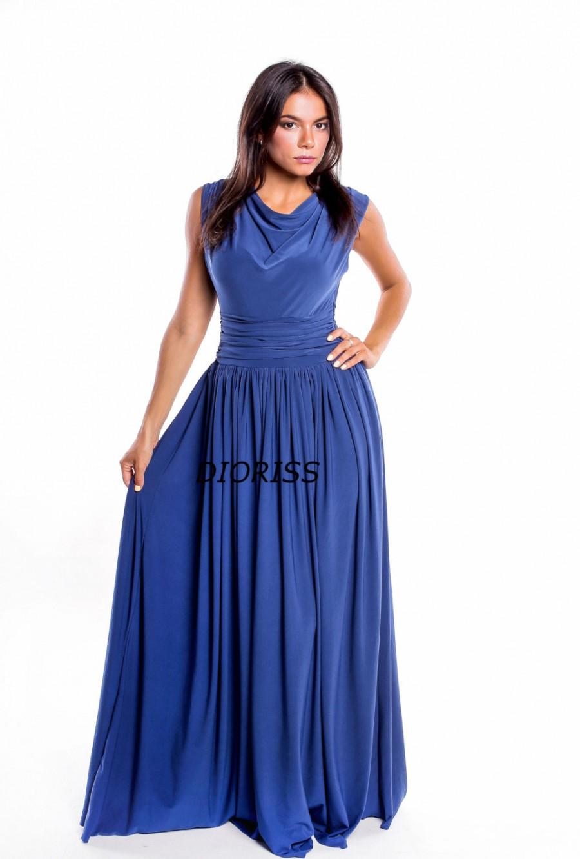 Свадьба - Indigo Blue Long Party dress.Plus Size Draped Waist Long Dress.Maternity Dress bridesmaids.Maxi Woman Dress Clothes
