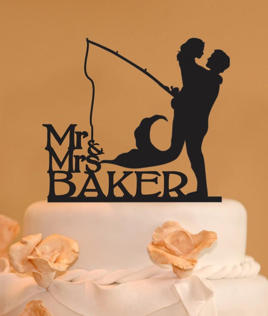 Man Holding Mermaid Mr And Mrs Wedding Cake Topper