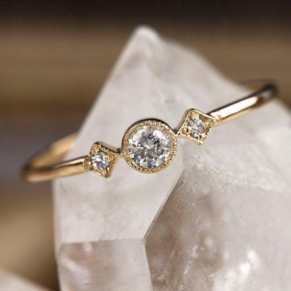 Gut bekannt Bague De Fiançailles Unique, 3mm Blanc Diamant Anneau D'empilage  DT84