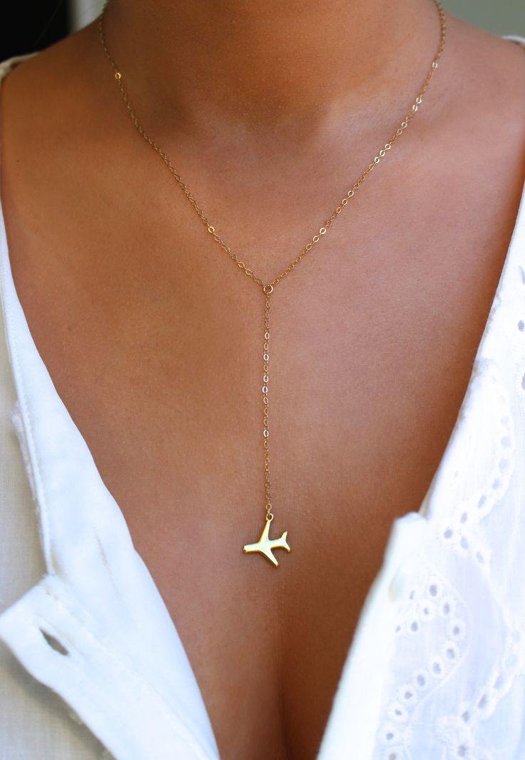 زفاف - Airplane Gold Or Silver Lariat Necklace, Travel Inspired Jewelry, Airplane Necklace, Pilot Necklace, World Traveler, Wanderlust Jewelry, Jet