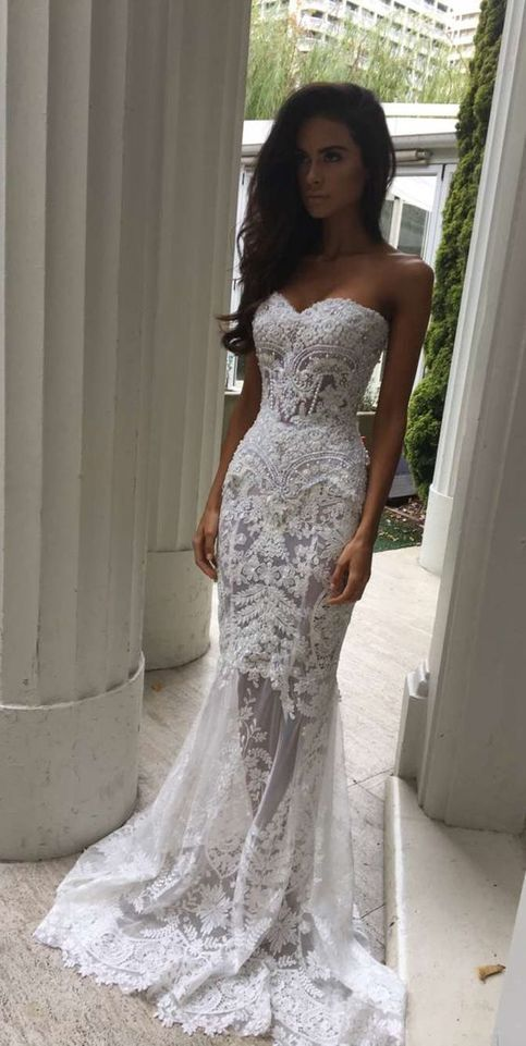 Charming White Lace Wedding Dress Y Sweetheart Bridal See Through