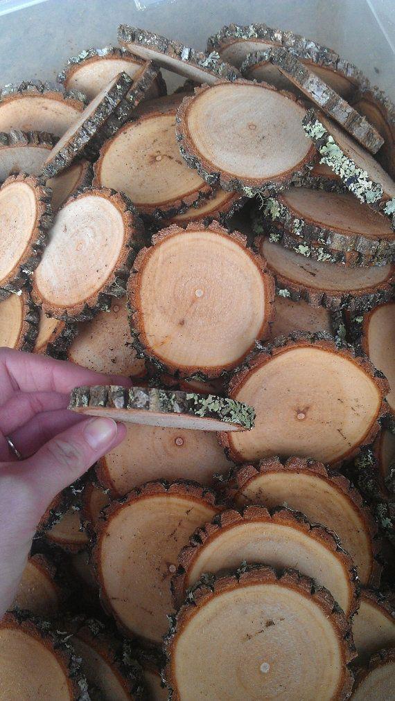 """زفاف - 100 1-2"""" Rustic Wood Tree Slices Wedding Decor SOURWOOD Disc Log Round LARGE"""