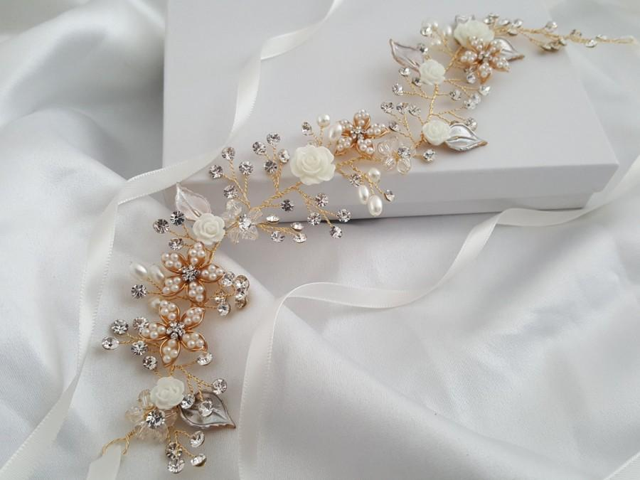 Mariage - Wedding Hair Vine, Gold Bridal Head Piece, Silver Bridal Hair Accessory, Flower Hair Vine, Pearl Hair Vine