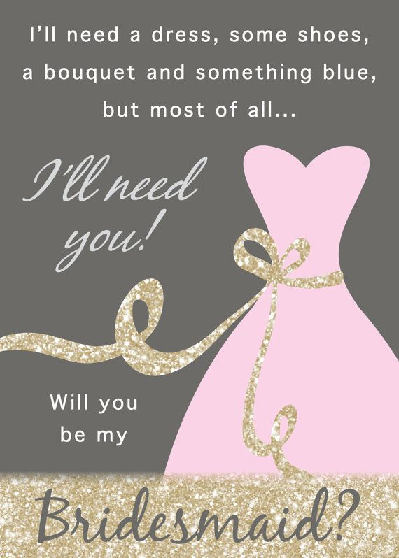 Hochzeit - Will You Be My Bridesmaid / Maid Of Honor / Matron Of Honor Invitation - DIY Instant Download Printable PDF