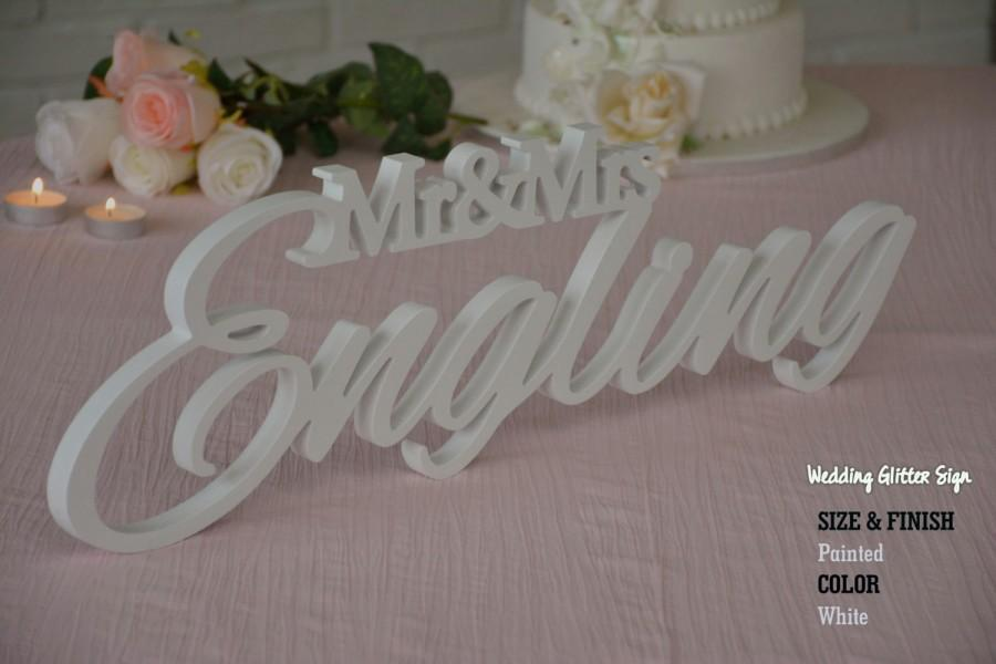 Mariage - Custom Wedding Sign, Name Family Sign, Mr and Mrs LAST NAME, Mr & Mrs Free Standing Custom Wood Letters
