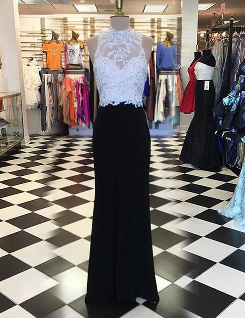 Wedding - Stunning High Neck Long Sheath Black Prom Dress with Beading Appliques Open Back