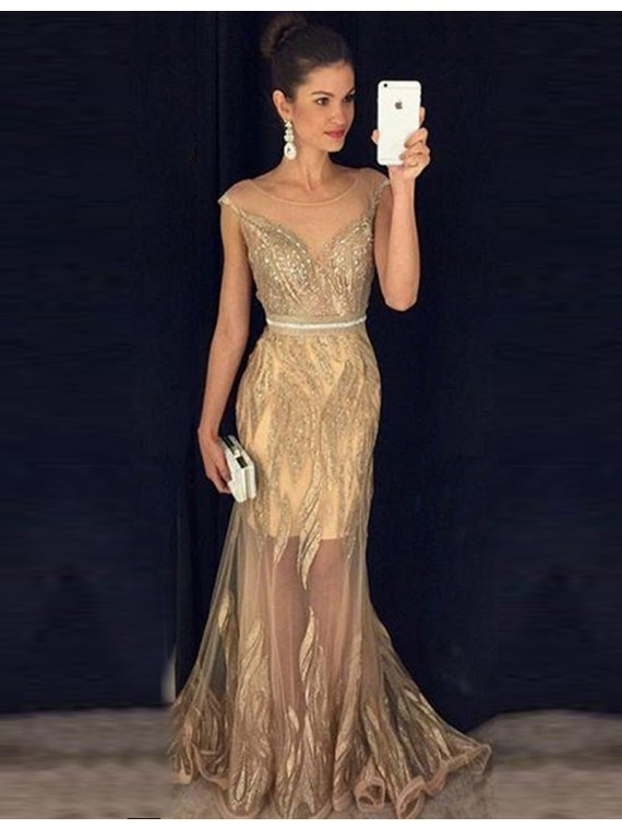 92be1f8780b Stunning Illusion Jewel Cap Sleeves Gold Sheath Prom Dress with Beading  Gold