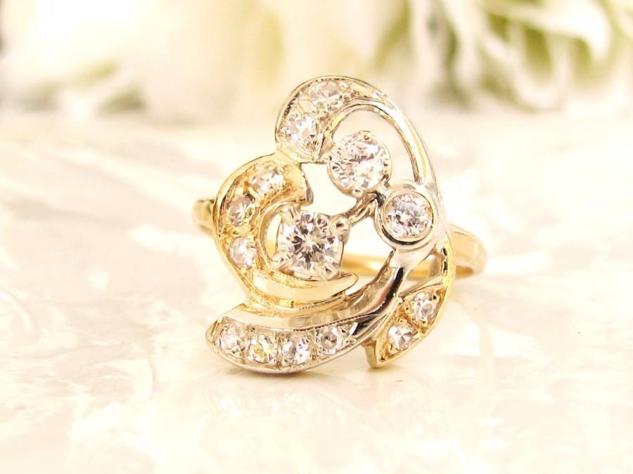 زفاف - Antique Engagement Ring Art Nouveau 0.56ctw Diamond Wedding Ring 14K Two Tone Gold Old European Cut Diamond Abstract Anniversary Ring Size 9