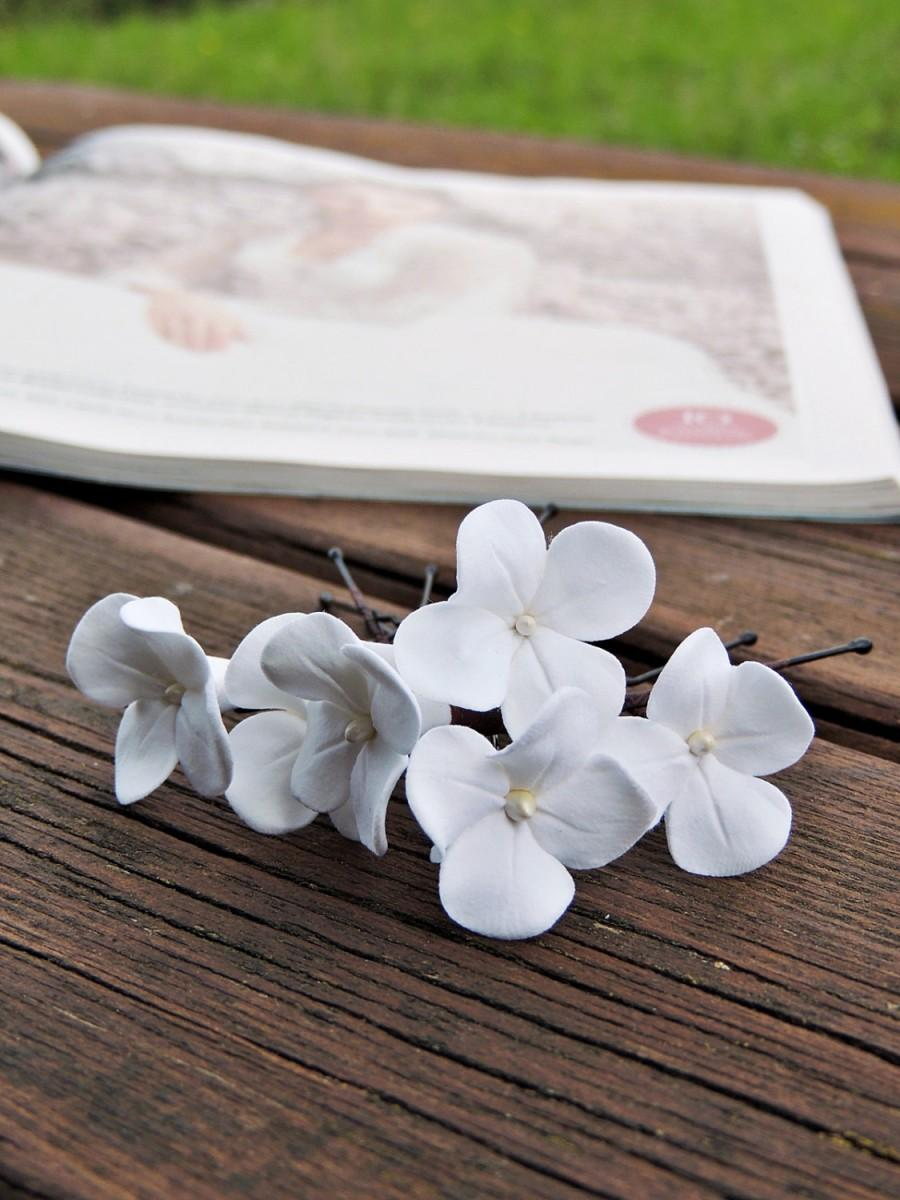 زفاف - White wedding hairpins-pins, hairpins with flowers, wedding Hairpins, Bobby pins, Barrettes, Bobby pins, Barrettes wedding small white
