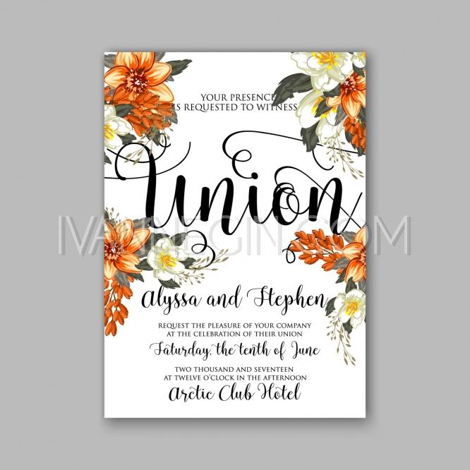 Romantic orange peony flowers the brides bouquet wedding wedding invitation card template design unique vector illustrations christmas cards wedding invitations images and photos by ivan negin stopboris Image collections