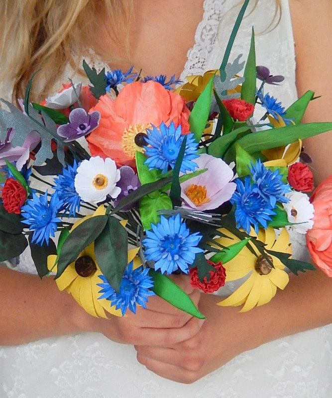 Mariage - Paper Wildflower Wedding Bouquet - Bridal Flowers  - Colorful Paper Wildflower Bouquet  - Poppies, Cosmos - Custom Colors Available