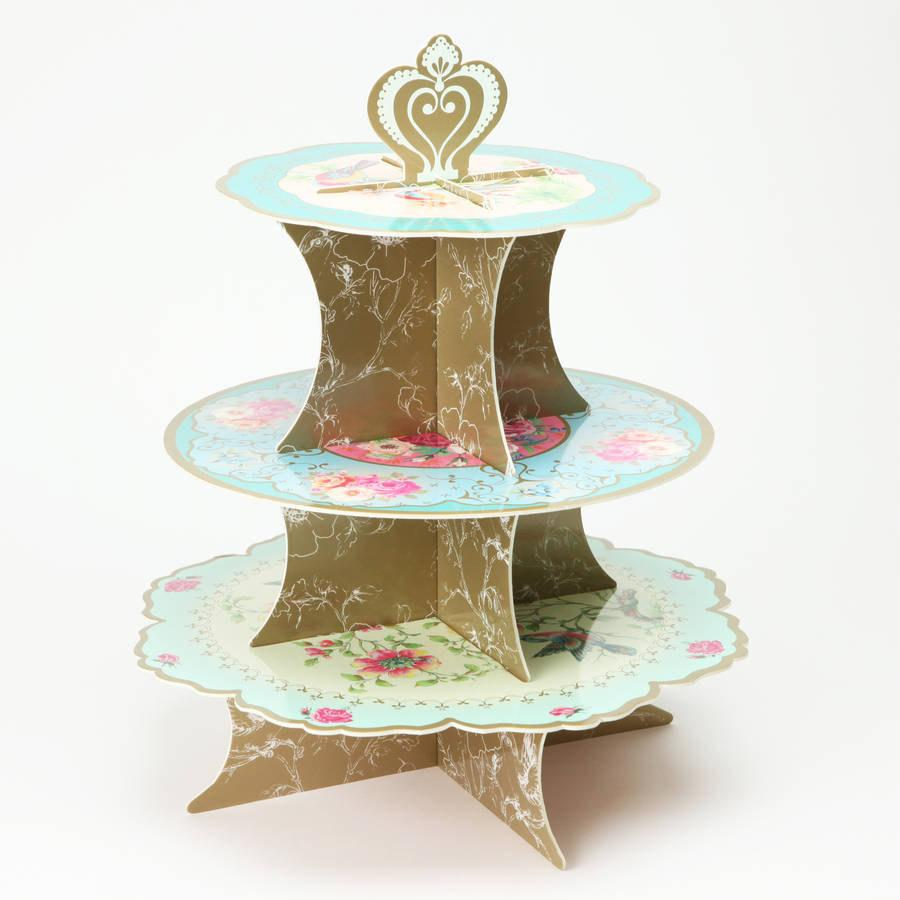 Mariage - Vintage Cupcake stand, truly Alice, whimsical garden tea party, wedding ceremony supplies, 3 tiered cake stand, disposable unit ~ party