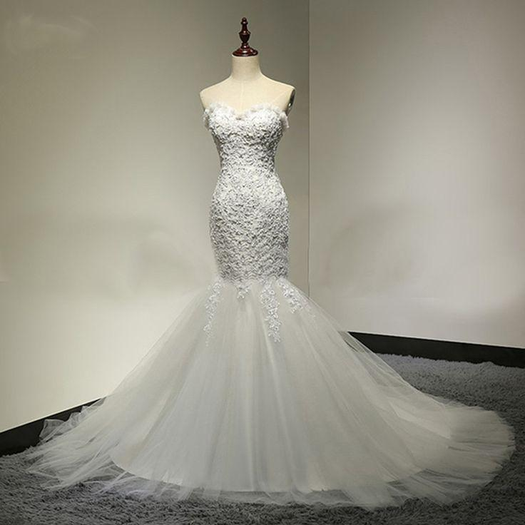 Свадьба - Sweetheart Lace Sexy Mermaid Lace Up Tulle Wedding Party Dresses, WD0028