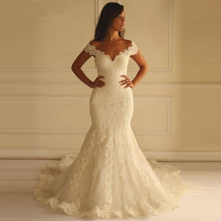 Wedding - Lace Applique Off Shoulder Mermaid Style Wedding Dress Bohemian Wedding Dress