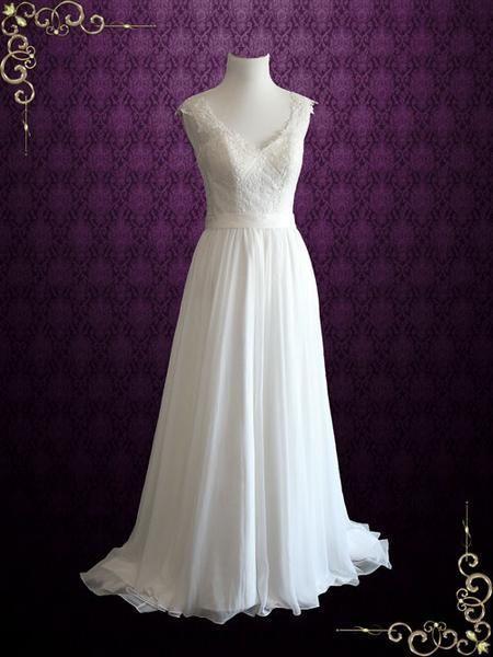 Mariage - Beach Vintage Style Lace Chiffon Wedding Dress With Illusion Lace Back