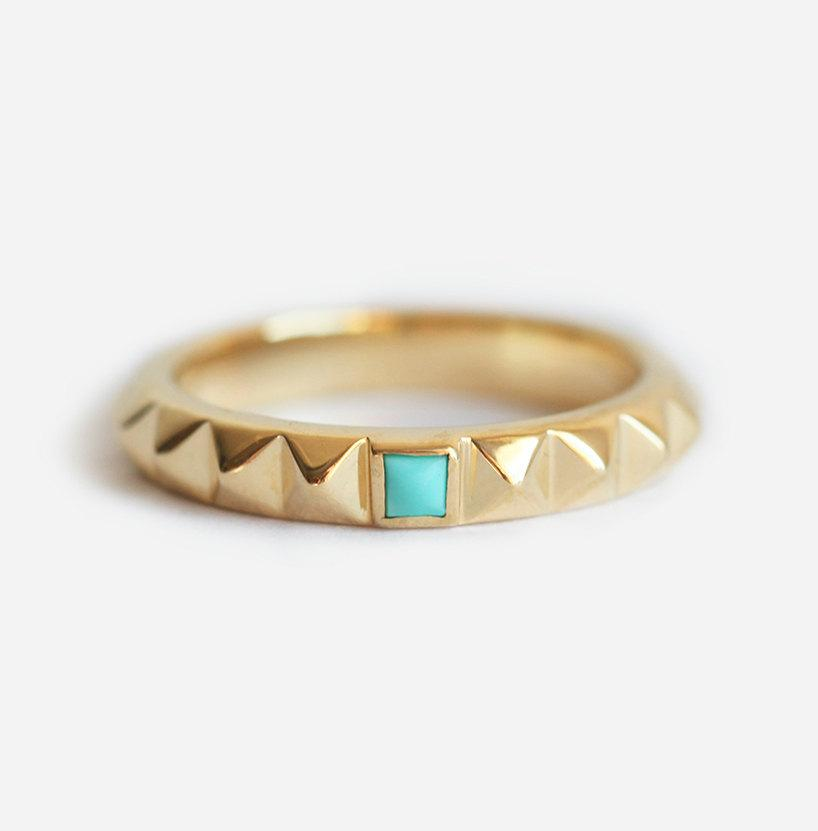 turquoise wedding band turquoise wedding ring studded ring gold stud ring pyramid ring geometric ring unique wedding band - Turquoise Wedding Ring