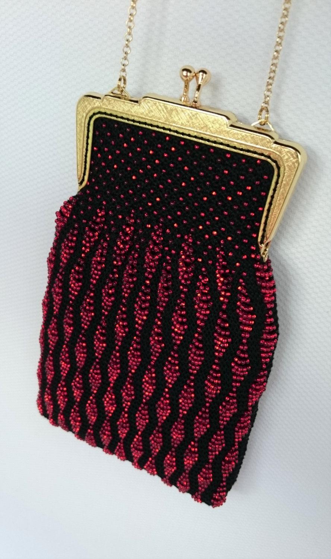 Mariage - Evening Purse, Wedding Purse, Beaded Purse, Bead Knitted Purse, Knitted Purse,  Clutch, Handmade, Dark Red