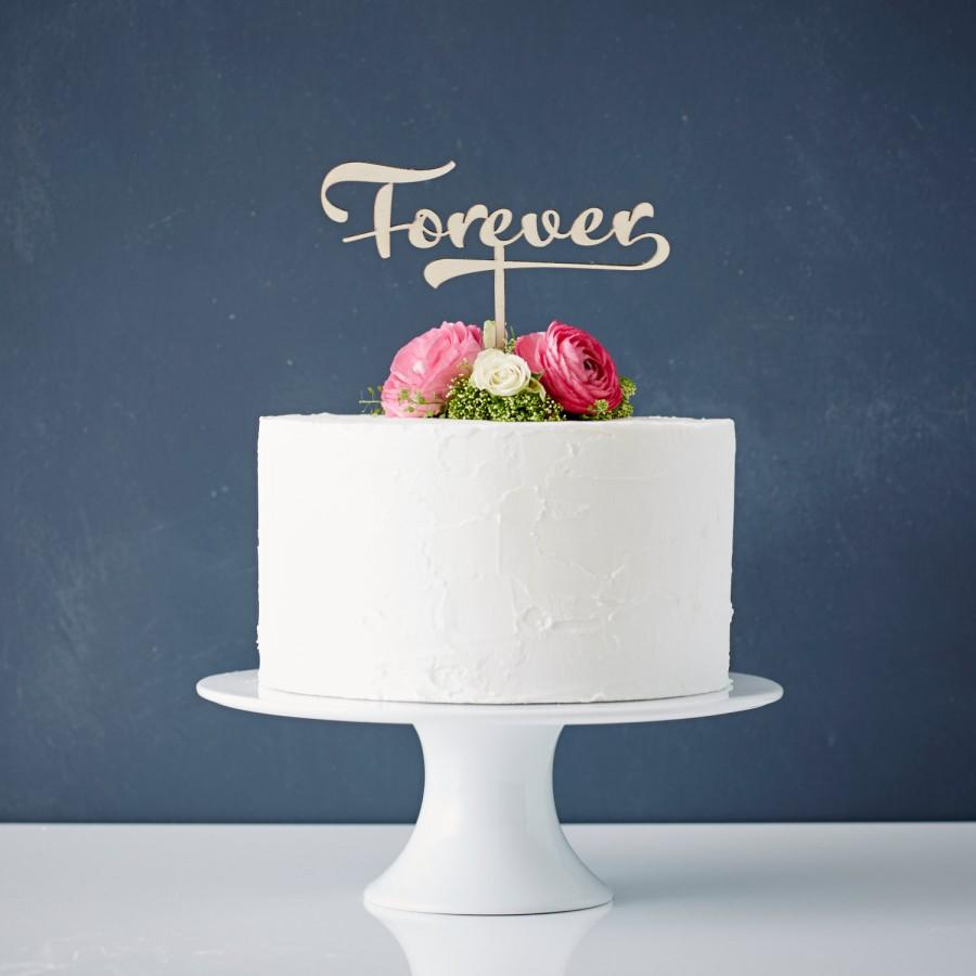 Mariage - Calligraphy 'Forever' Wooden Wedding Cake Topper