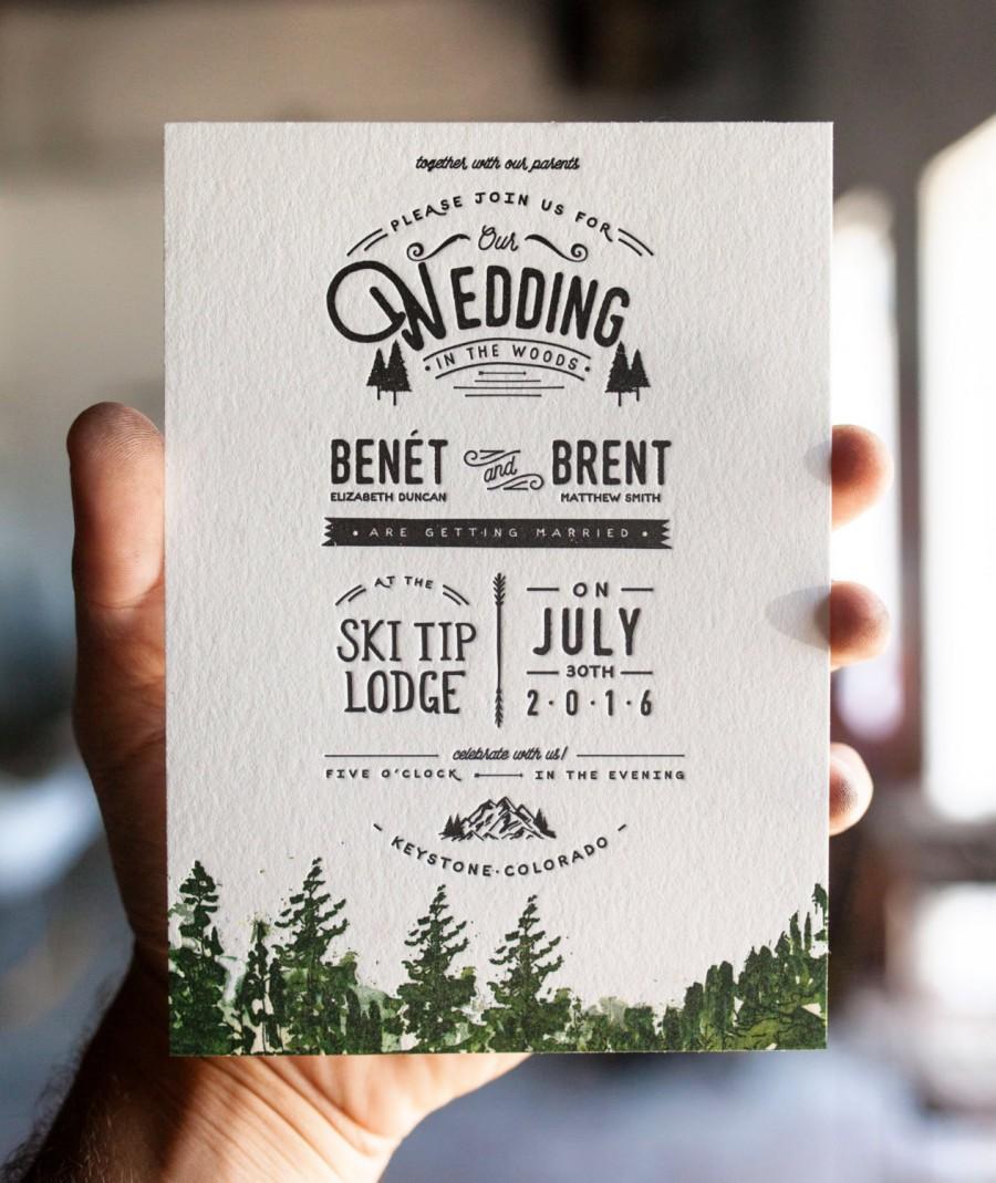 Letterpress And Watercolor Mountain Wedding Invitation: Rustic Trees ...