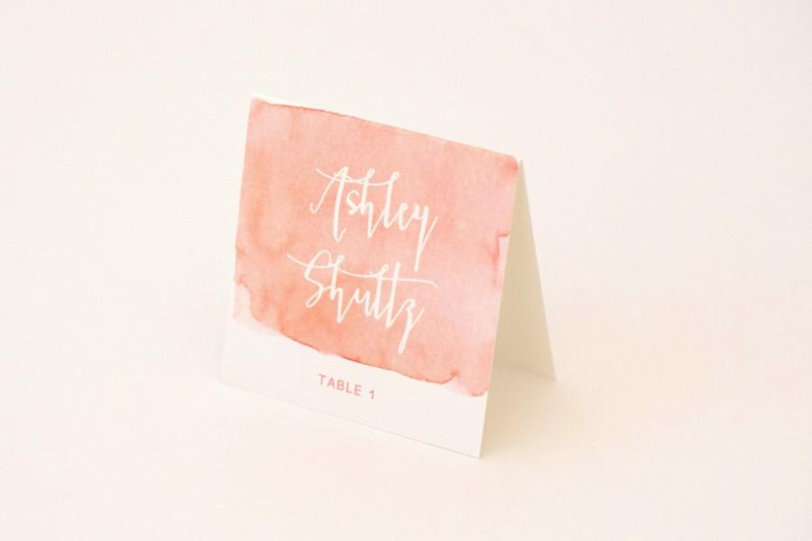 Hochzeit - Escort Cards, Place Cards - Coral Ombre Modern Design with Unique Watercolor Pattern Wedding Escort / Place Card (Sarah Suite)