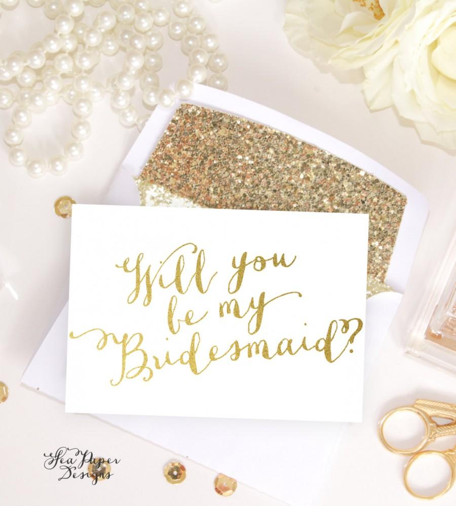Mariage - Card Set: Will you be my Bridesmaid, Maid of Honor card, bridal party proposals White & Gold Foil, invitation instant download DIY Printable