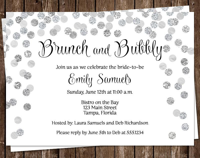 Свадьба - Bridal Shower Invitations, Silver, Wedding, Confetti, Sparkle, Classic, Champagne, 10 Printed Invites, FREE Shipping, Brunch & Bubbly, Grey