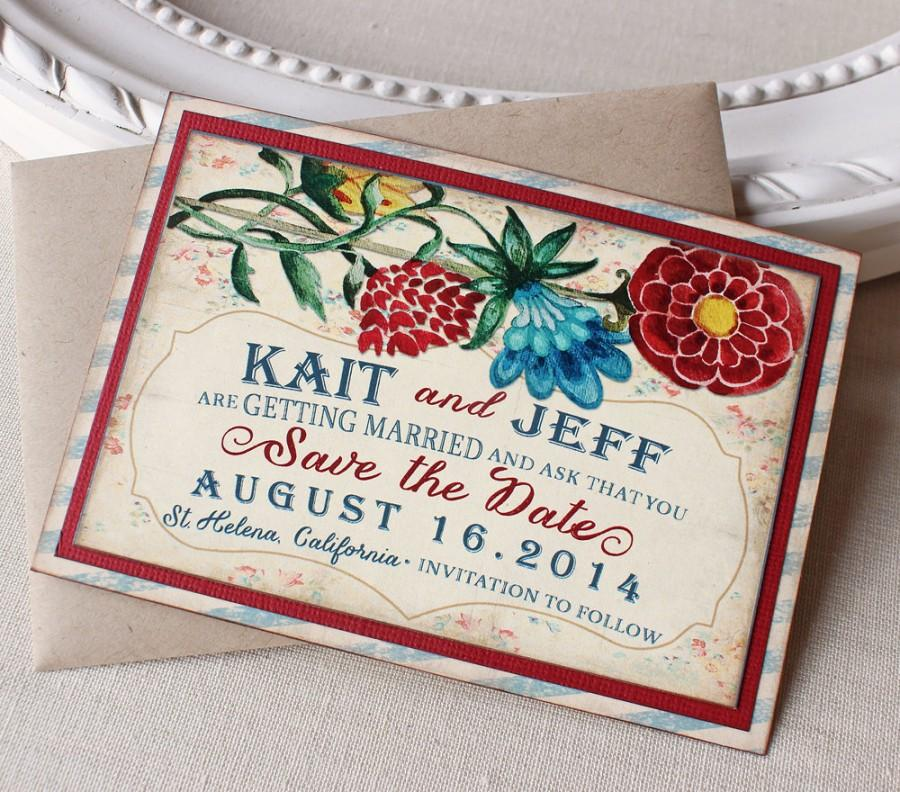Mariage - Vintage Garden Wedding Save the Date Magnet  Watercolor Floral Cheerful Red Blue Rustic