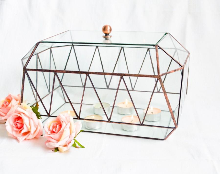 Hochzeit - Glass card box Zigzag with lid / Geometric Glass Jevelry Box / Wedding Card Box / Stained Glass Jewelry Box / Modern Wedding Decor