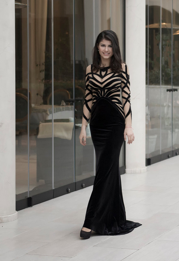 Hochzeit - Black velvet evening dress, Long formal dress from plush, Black cocktail dress with handmade stripes, Goth long evening gown in black velvet