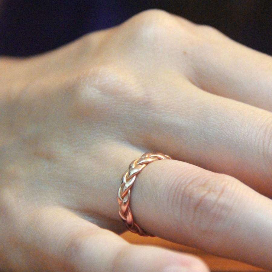 Hochzeit - Braided Rose Gold Ring, Gold Rings, Rose Gold Wedding Ring, Rose Gold band, Braided Ring, Alternative Wedding Ring, wedding band