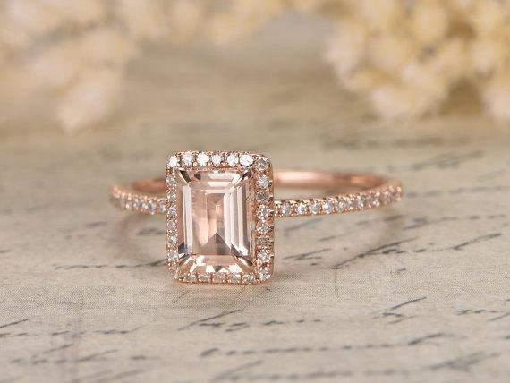 Wedding - 6x8mm Emerald Cut Morganite Ring 14K Rose Gold Morganite Engagement Ring Emerald Cut Engagement Ring Diamond Pave Ring