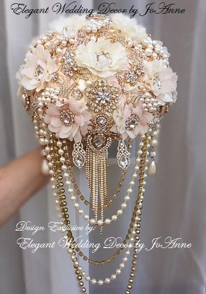 Mariage - ELEGANT BROOCH BOUQUET, Custom Pink and Gold Brooch Bouquet, Brooch Bouquet with Draping, Gold Brooch Bouquet, Brooch Bouquet, Deposit Only