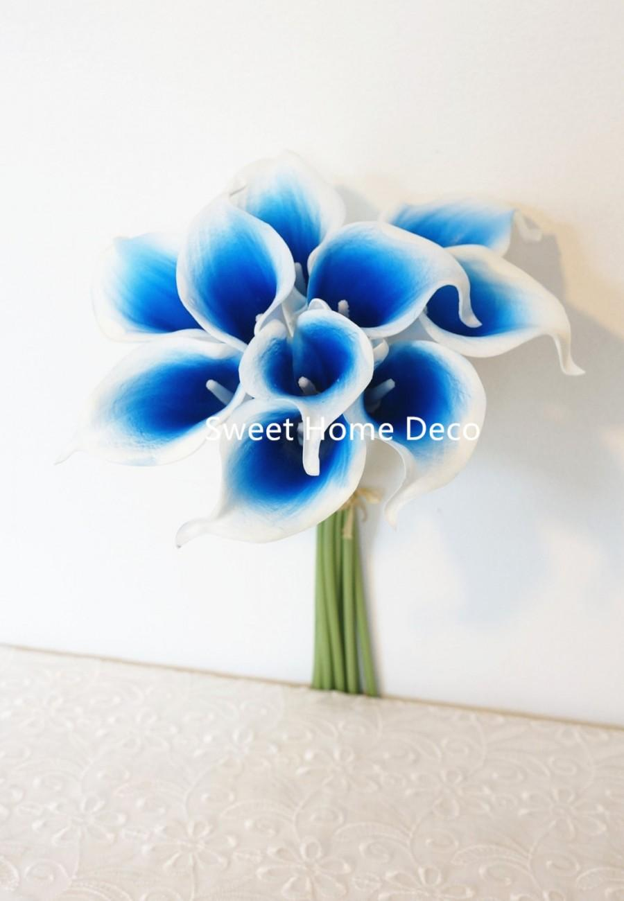 "Mariage - JennysFlowerShop 15"" Latex Real Touch Artificial Calla Lily 10 Stems Flower Bouquet for Wedding/ Home Dark Blue"